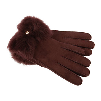 Women's Sheepskin Long Pile Bow Gloves - Wine