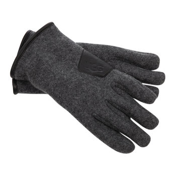 Men's Fabric & Leather Gloves - Charcoal