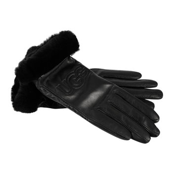 Women's Classic Leather Logo Gloves - Black