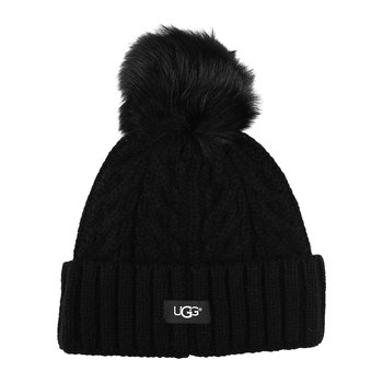 Women's Cable Pom Beanie - Black