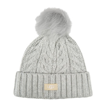 Women's Cable Pom Beanie - Light Heather Gray