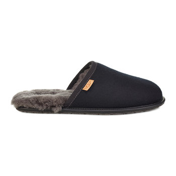 Men's Scuff Leather Slippers - Black/Grey
