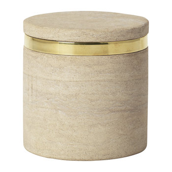'Ring' Sandstone Storage Jar - Sand/Brass