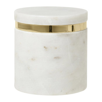 'Ring' Marble Storage Jar - White/Brass