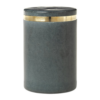 'Ring' Soapstone Storage Jar - Grey/Brass