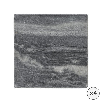 Marble Coasters - Set of 4 - Black/White