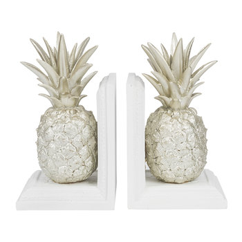Pineapple Bookends - Set of 2 - Silver/White