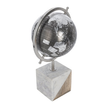 Globe Ornament with Marble Base - Black/Silver
