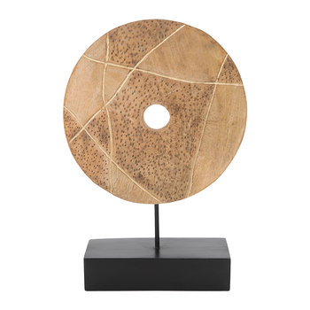 Wooden Wheel Sculpture - Natural/Gold