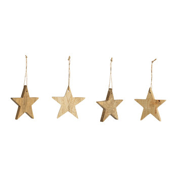 Mango Wood Large Stars Tree Decoration - Set of 4
