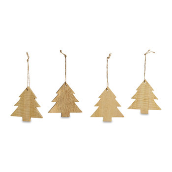 Mango Wood Large Trees Tree Decoration - Set of 4