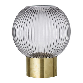 Ridged Spherical Glass Vase - Grey/Brass