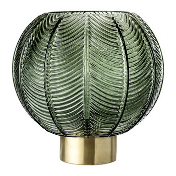 Spherical Leaf Glass Vase - Green/Brass