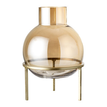 Raised Spherical Glass Vase - Brown