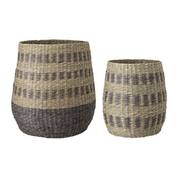 Striped Seagrass Baskets - Set of 2