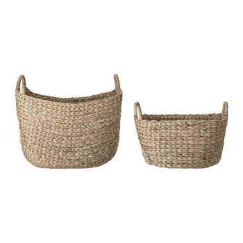 Water Hyacinth Basket with Handles - Set of 2