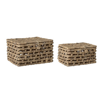 'Bricks' Lidded Basket - Water Hyacinth - Set of 2
