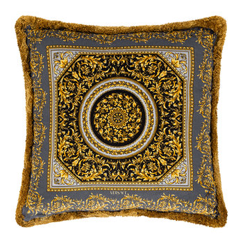 Barocco Circle Cushion - 45x45cm - Grey/Black/Gold