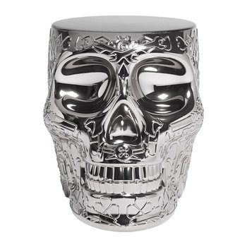 Mexico Skull Stool/Side Table - Silver