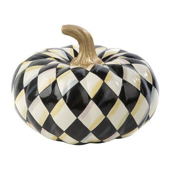 Courtly Harlequin Pumpkin Ornament - Squashed
