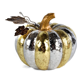 Silver & Gold Pumpkin Ornament