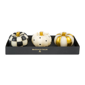 Mini Pumpkin Candle - Set of 3 - Black & Gold