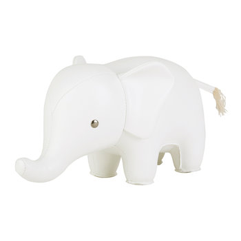 Elephant Bookend - White