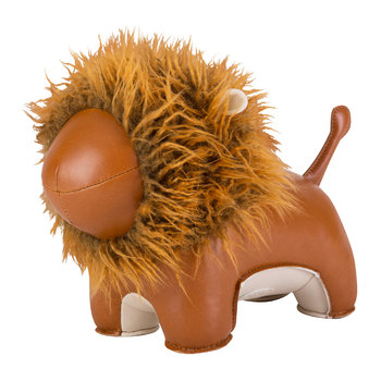 Lion Lino Doorstop - Tan & Brown
