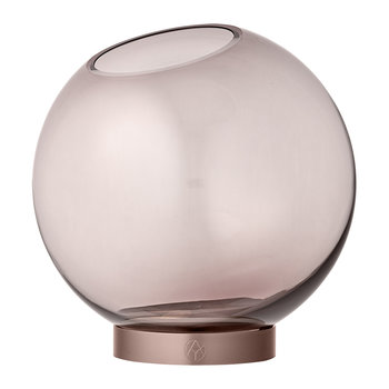 Globe Vase - Medium - Rose Glass & Rose Gold
