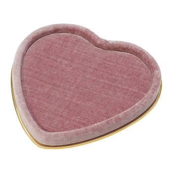 Valentina Velvet Heart Tray - Dusty Rose