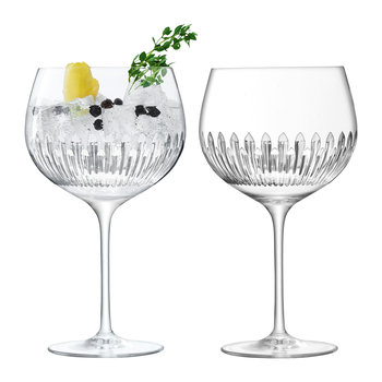 Balloon Gin Glass -  Reef Cut - Set of 2