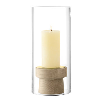 Mistral Oak Candle Holder & Glass Shade