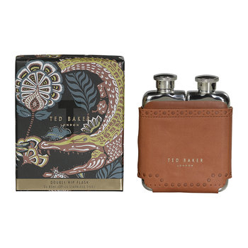 Brogue Kiku Double Hip Flask - Brown
