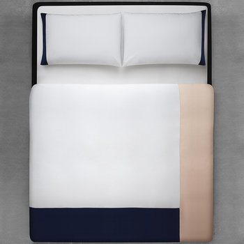 Mary Duvet Cover - White/Navy