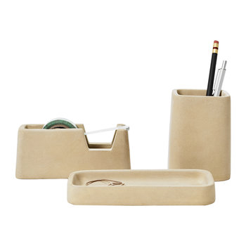 Concrete Desk Accessories Set - Sand