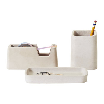 Concrete Desk Accessories Set - Gray
