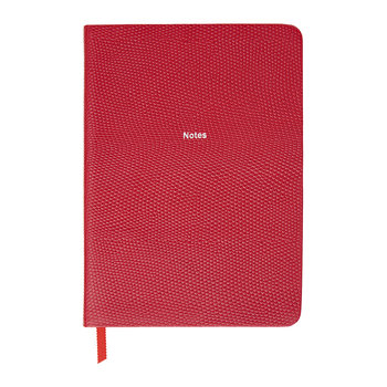 "Calepin en Cuir Moyen ""Notes"" - Rouge Cerise"