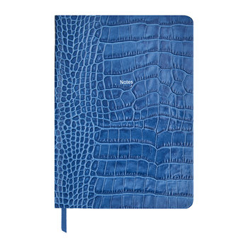 "Calepin en Cuir Moyen ""Notes"" - Bleu Denim"