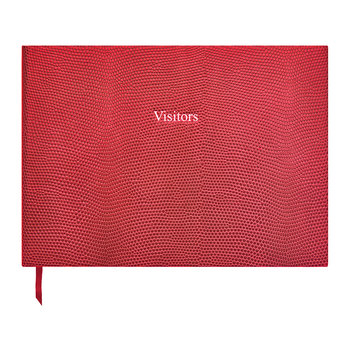 Leather Visitors Book - Cherry Red