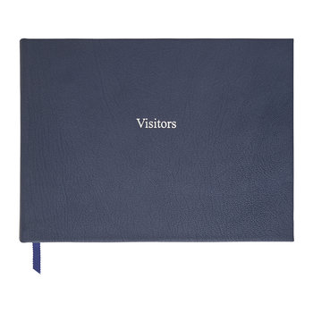 Leather Visitors Book - Navy Blue