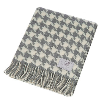 Houndstooth Merino Lambswool Throw - Grey