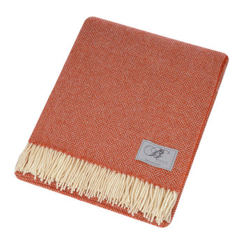 Parquet Merino Lambswool Throw - Coral