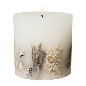 Frosted Woods Fat Pillar Candle