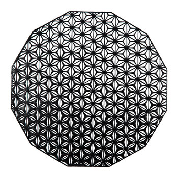 Pressed Vinyl Kaleidoscope Round Placemat - Black