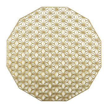 Pressed Vinyl Kaleidoscope Round Placemat - Brass