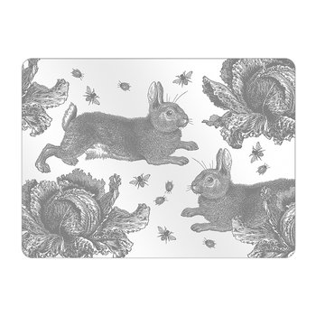 Rabbit & Cabbage Placemats - Grey - Set of 4
