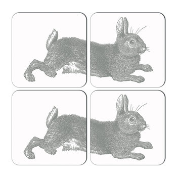 Rabbit & Cabbage Coasters - Gray - Set of 4