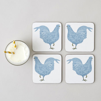 Chicken & Carnation Coasters - Set of 4