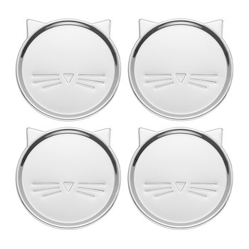 'Silver Wit' Cat Coasters - Set of 4