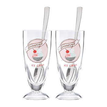 'Two Scoops' Ice Cream Glasses - Set of 2